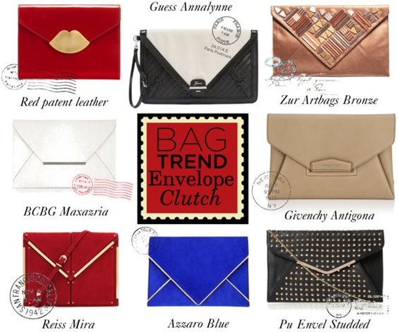 """Favorite Bag Trend : Envelope Clutch"" by angela-windsor ❤ liked on Polyvore"