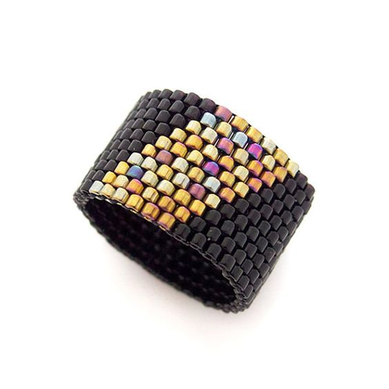 Geometric Black Ring, Beaded Ring Band, Gold Stripe Ring, Ring for Men, Pinkie Men Ring, Pharaoh, Handmade by JeannieRichard