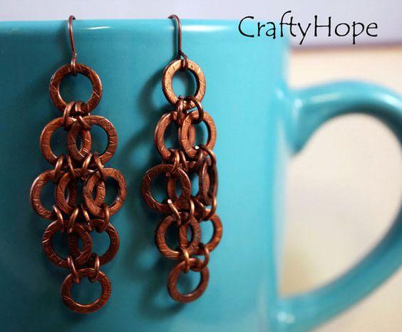 Copper washer earrings