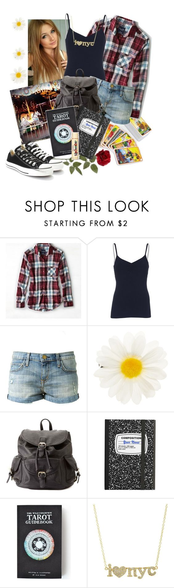 """Charlee Central Park"" by jadecardoza ❤ liked on Polyvore featuring American Eagle Outfitters, Solow, Current/Elliott, Accessorize, Charlotte Russe, The Wild Unknown, Jennifer Meyer Jewelry and Converse"