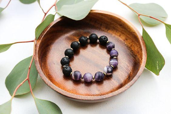 Half Moon Purple Agate + Volcanic Stone