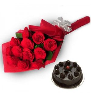 Bunch of 12 Red Roses with Dark Chocolate Cake - 500 Gms @ Rs. 999 only. Flat 25% Off on website. Gift this stunning red roses wrapped in a red color packing and show your love by giving the beauty of nature. Dark Chocolate cake comes along with these red roses. Grab this combo discount.  To order visit : http://www.giftshoppee.com/flowers-and-bunches/bunch-of-12-red-roses-with-dark-chocolate-cake-500-gms  or Call: +919168884609 (delivery across india).