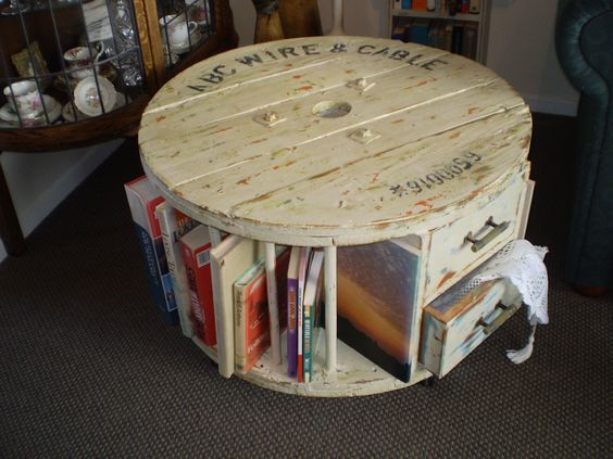 Books wine rack and a set of drawers in repurposed cable for Repurposed drum shelf