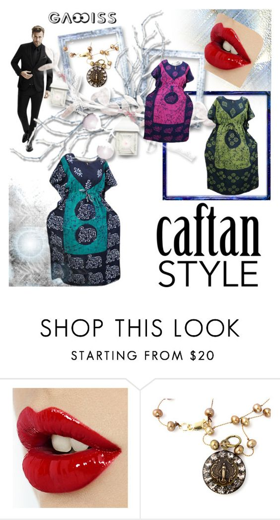 """COTTON BATIK KAFTAN MAXI DRESS"" by lavanyas-trendzs ❤ liked on Polyvore"