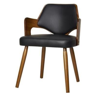 KIRUNA Chaise de salle à manger Simili noir Vintage L