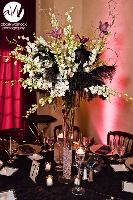 Wedding day details ideas black feathers floral