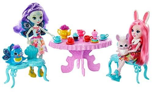 Garden Gazebo Tea Party Playset with Patter Peacock Doll and Flap Animal 6-in