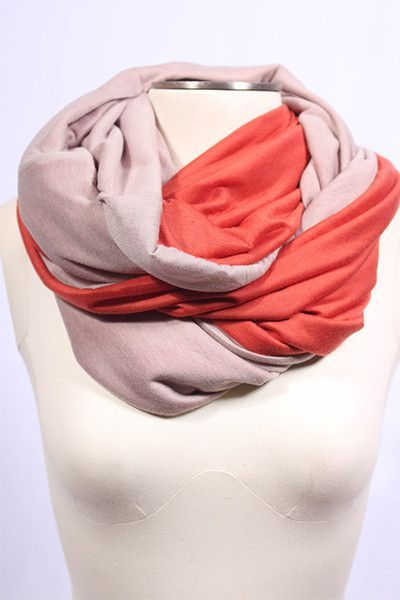 Two Tone Infinity Scarf- Rust