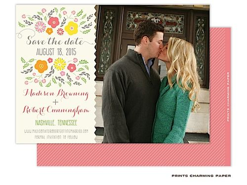 Peachy Save the Dates Photo Cards and Invitations from Taste Buds on the Avenue