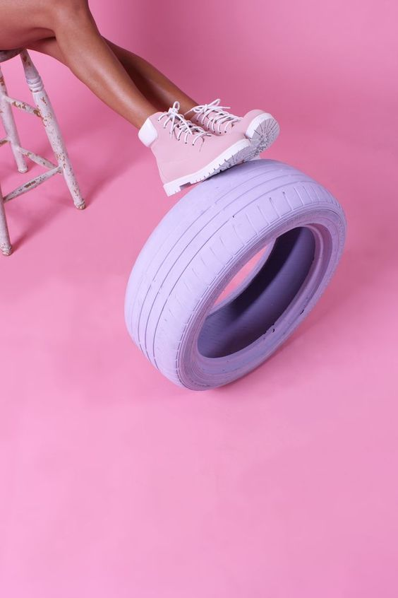 art direction   pink sneakers + purple tire - fashion lifestyle photography