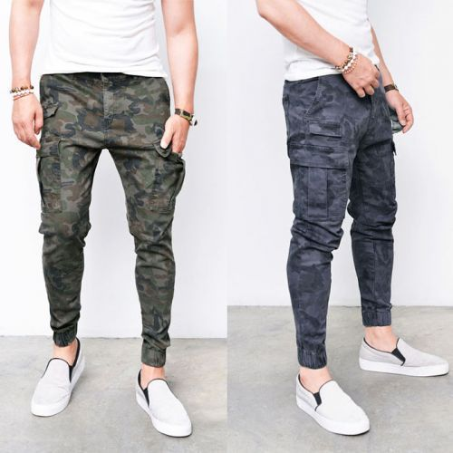 Mens Camouflage Semi Cargo Biker Jogger Pants By Guylook