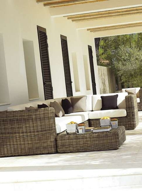 Enjoy the beauty and comfort of wicker furniture in the stylish Havana Modular Seating by Gloster collection; an all-weather durable collection that fits any style.