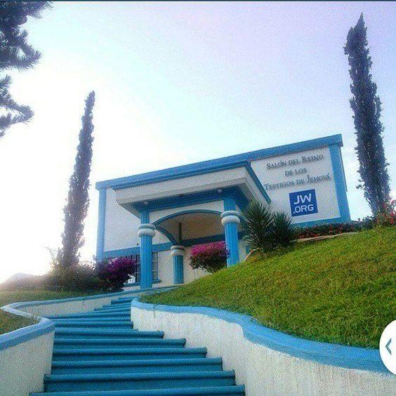 White and blue paint. Kingdom Hall.