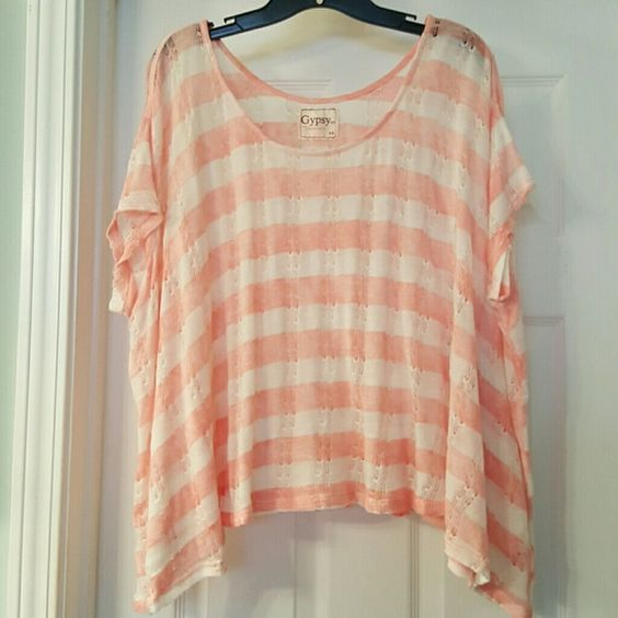 Gypsy 05 Short Sleeve Shirt Pink and white striped loose fitted short sleeve shirt with open hole running vertically down shirt. Worn a few times, excellent condition. Comes from smoke-free home. Gypsy 05 Tops Tees - Short Sleeve