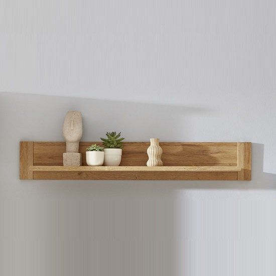 Berger Wooden Wall Mounted Display Shelf In Rustic Oak Wooden Bookcase Display Shelves Wooden Walls