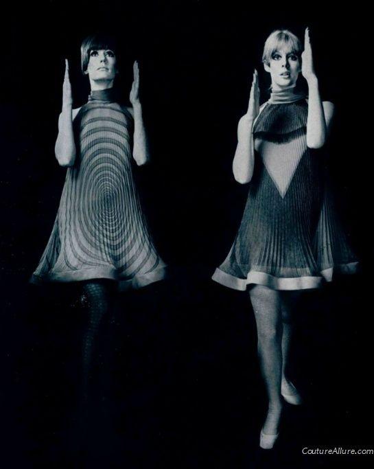 Pierre Cardin pleated op art dresses, 1967