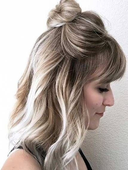 43 Ideas Hair Styles Easy Teacher Medium Length Hair Styles Bangs With Medium Hair Womens Hairstyles