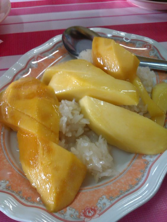The famous Pulut Mangga.  ( gluten rice serve with mango and coconut milk)