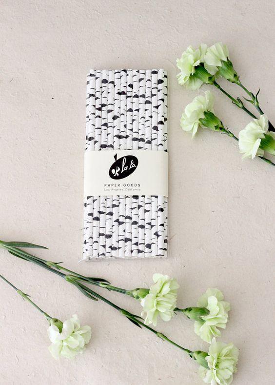 SALE - 50 Birch Style Paper Straws