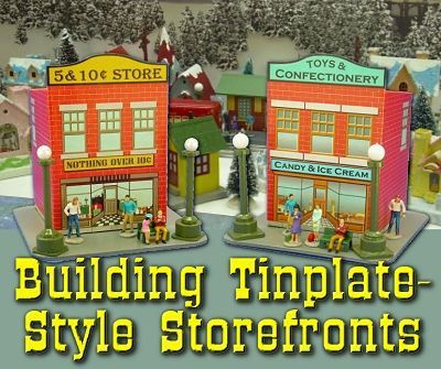 Building Tinplate Style Storefronts for Diorama Free Paper Models Download  Here are two simple building paper models, Building Tinplate Style Storefronts, as a tribute to the tinplate villages and trains, the templates are created by Howard Lamey and Paul Race.