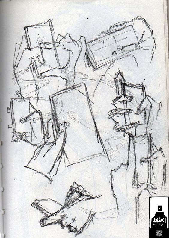 Estudos de mão no ônibus 6b