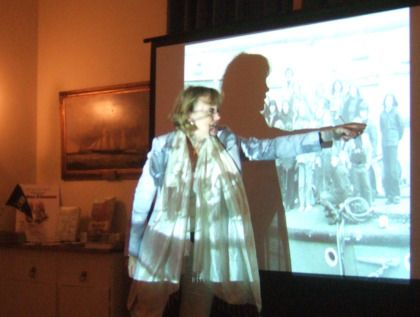 Author Sophie Neville talking about 'The Making of Swallows & Amazons' at the Royal London Yacht Club in Cowes, Isle of Wight, September 2014