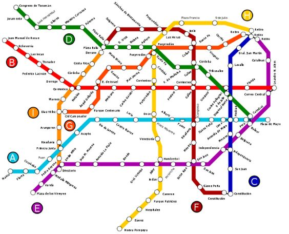 BuenosAires public transportation map – Tourist Map Of Buenos Aires