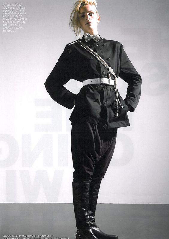 Andrej Pejic for Black Magazine #9, 2008.  Photographer: Russ Flatt. Fashion Editor: Atip W.  Grooming: Stefan Knight.