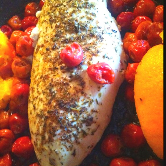 Orange-cherry rum chicken! Add the fruit and rum with Italian herbs, cracked pepper and rosemary. So delicious and quick!
