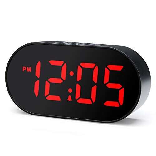 Plumeet Digital Led Alarm Clock With Dimmer And Snooze 2 Level Alarm Volume Optional Large Red Digit Display B Led Alarm Clock Alarm Clock Simple Alarm Clock