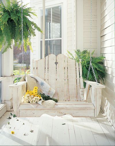 Front porches ferns and tree swings on pinterest for Old porch swing