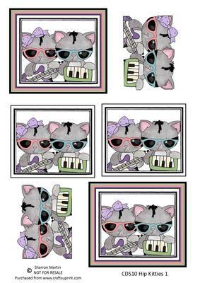 CDS10 Hip Kitties 1 on Craftsuprint - Add To Basket!