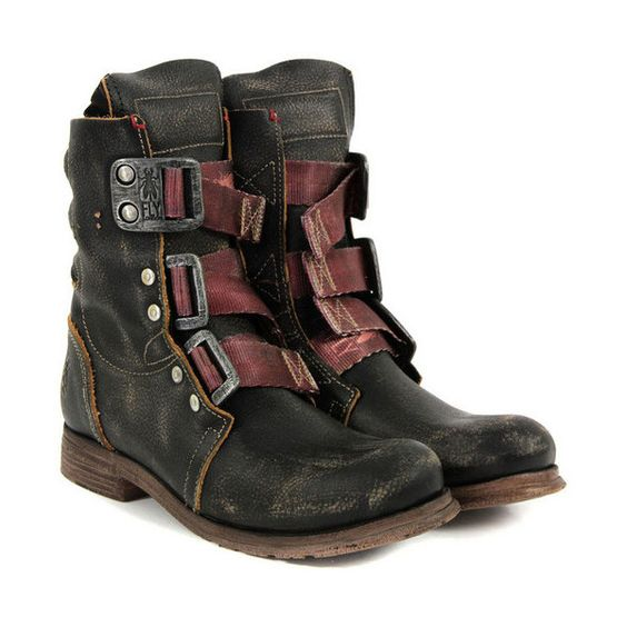 Dystopia Post-Apocalyptic Mecha Nomad Futuristic for cosplay ideas.   Fly Stif Black Boots ($108) found on Polyvore