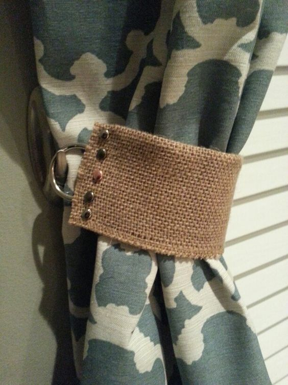 Diy curtain tie backs with command hook - Im not actually encouraging the camo curtains, but the tie backs are cool