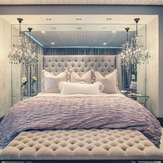 Ultra Luxe Bedroom Home Decor Inspiration Home Decor: Mirrored Bedroom, Foot Of Bed And Nightstand Lamp On Pinterest