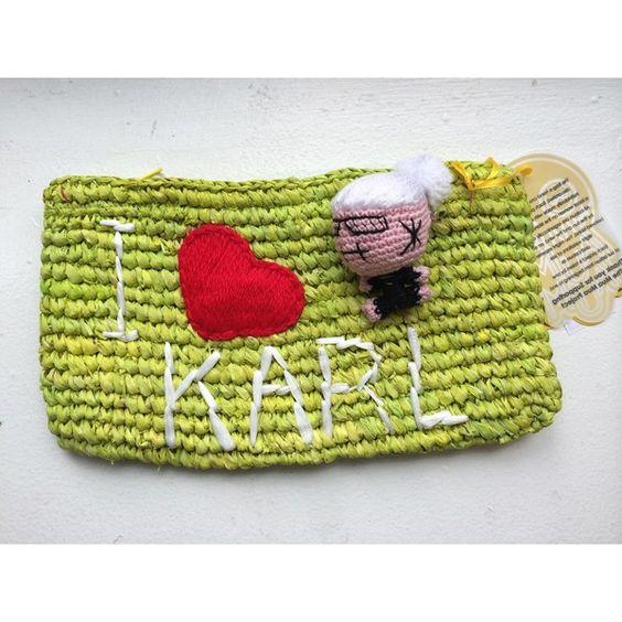 Mua Mua I Love Karl Pochette (€66) ❤ liked on Polyvore featuring bags, handbags, clutches, women, green purse, green clutches, raffia handbag and green handbag