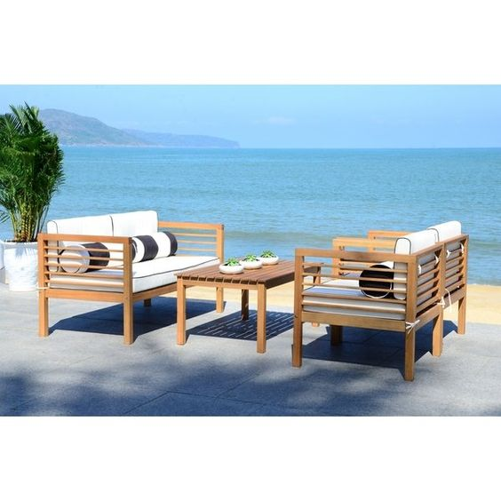 ALDA - Shop Safavieh Outdoor Living Black/ White 4 Pc Set With Accent Pillows - On Sale - Free Shipping Today - Overstock - 15907472