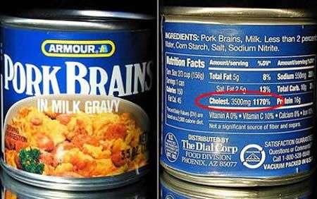 Canned Pork Brains...in milk gravy! My Grandmother use to cook these & I ate them. What was I thinking?