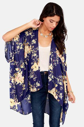 Blue Floral Print Kimono Jacket. This would look great with faux leather skinny pants