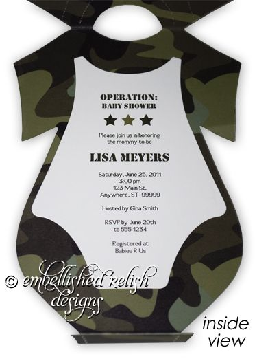 camouflage baby shower invitations boy - Google Search