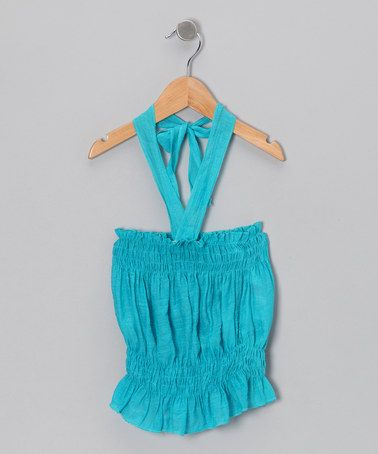 Take a look at this Aqua Halter Top - Toddler & Girls by Lele for Kids on #zulily today!