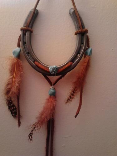 Western Cowboy and Cowgirl Decor Horseshoe **Luck Catcher** Genuine Leather with Semi-Precious Turquoise Stones!!!