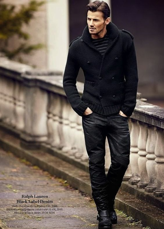 Ralph Lauren all black men's casual fashion... that double breasted cardigan is awesome!