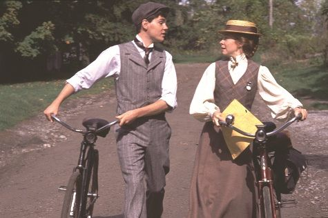 Anne and Gilbert with bikes. Anne of Green Gables