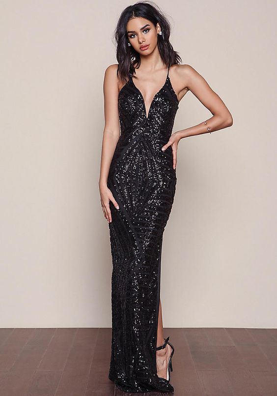Junior Clothing | Black Glitz Sequin Maxi Dress | Loveculture.com