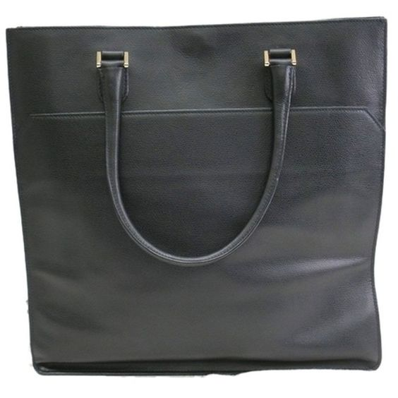 Pre-owned Black Leather Valextra Tote (1,215 CAD) ❤ liked on Polyvore