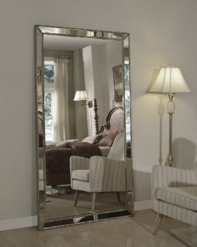 Leaning mirror floor mirrors and venetian on pinterest for Leaning wall mirror