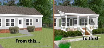 Ranch home with and without a porch for the home for Small home addition ideas