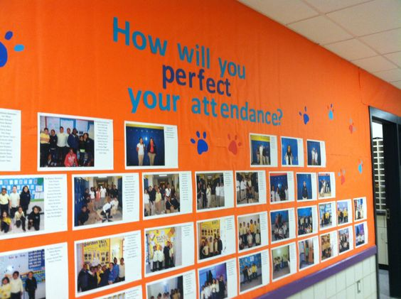 This school has a culture of high attendance expectations. This board promotes a positive school climate by recognizing both student achievement and effort.--What if we had students take a selfie and write how they are going to perfect their attendance (ex: I'm going to set my phone to wake me up, I'm going to get a friend to text me in the morning to make sure I'm up, I'm going to organize everything I need the night before).: