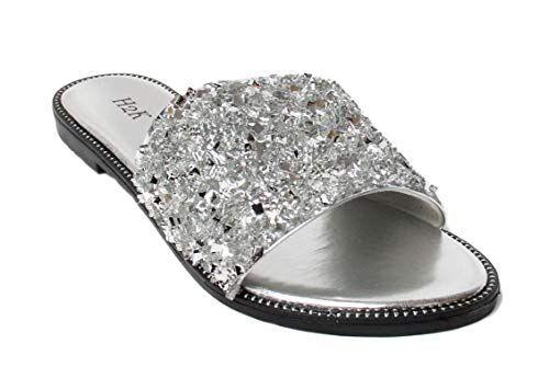 H2K Womens Glitter Bling Fancy Slide